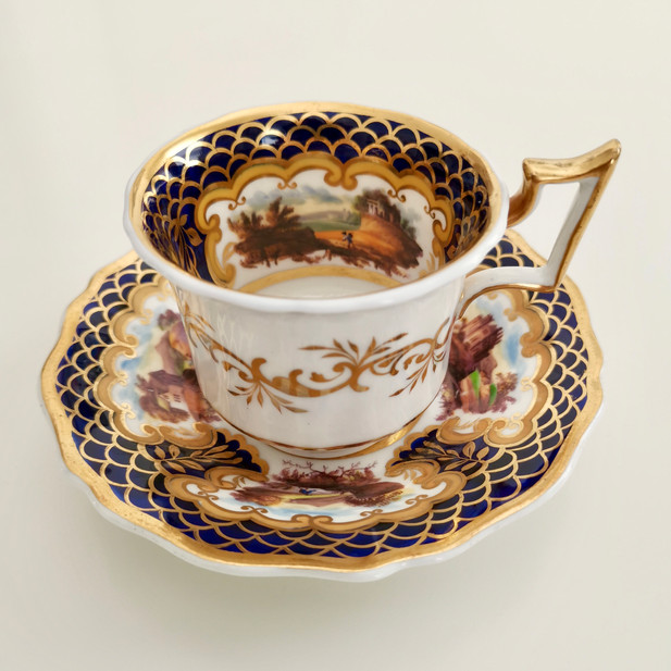 Rare Ridgway coffee cup with landscapes, ca 1825