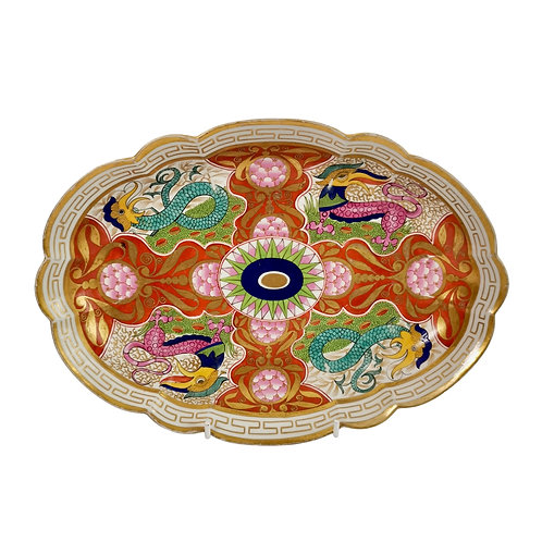 Barr Flight & Barr oval dish, dragons in compartments, 1807-1813