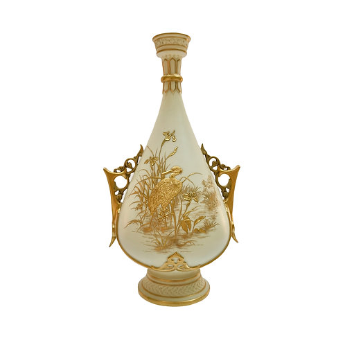 Royal Worcester vase, chased gilt stork by Thomas Morton, 1889