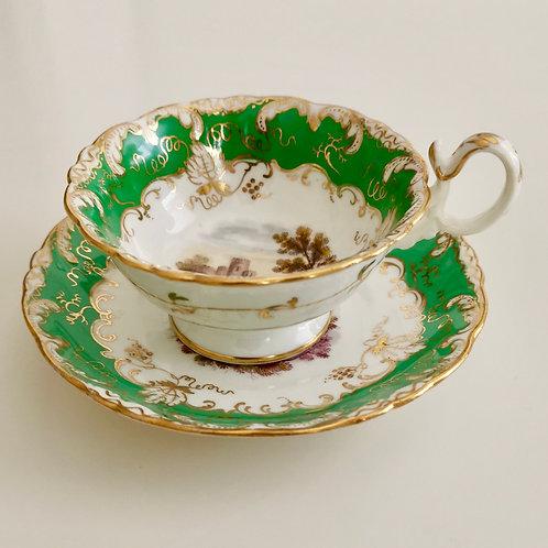 Coalport teacup, Adelaide shape with landscapes, ca 1840