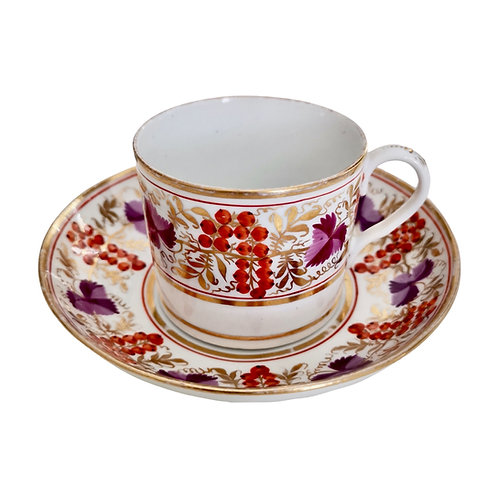 Coalport Thomas Rose coffee cup, red and purple vines with gilt, ca 1805