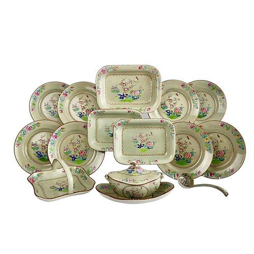 Spode creamware dessert service, avocado green, Chinoiserie, 1814