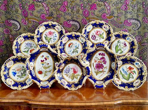 Ridgway part dessert service, moustache shape with sublime flowers, ca 1825