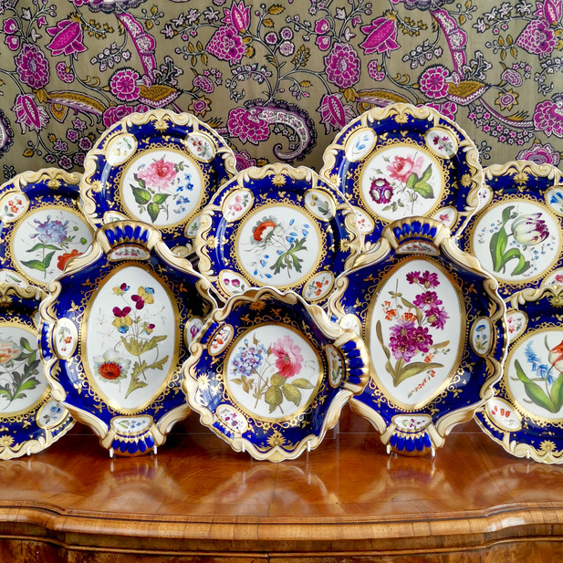 Ridgway part dessert service, sublime flowers, ca 1825