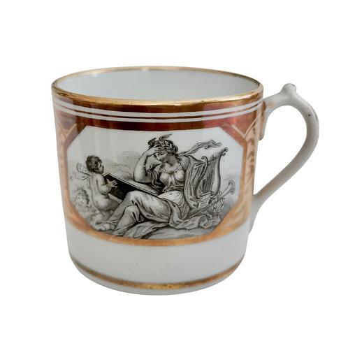Miles Mason orphaned coffee can, Minerva and cherubs patt. 174, ca 1810