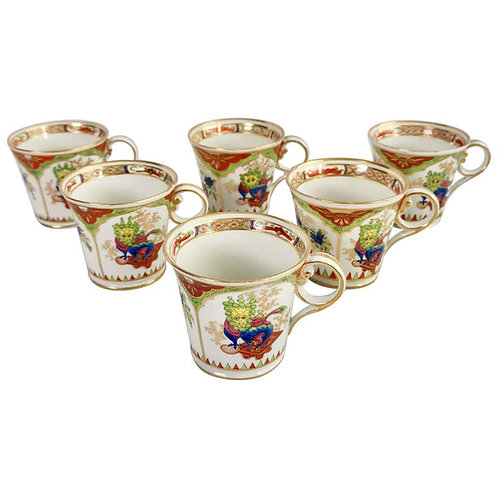 Set of 6 Chamberlain's Worcester coffee cups, Dragons in Compartments, ca 1810