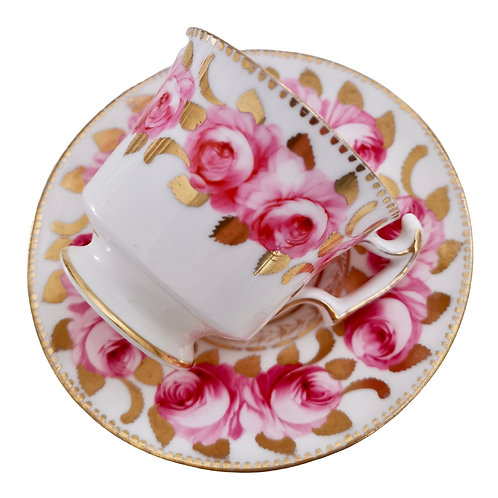 Staffordshire coffee cup, Billingsley roses, 1820-1825 A/F