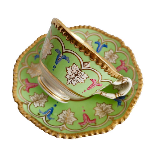 Flight Barr & Barr trio, green with acanthus pattern, ca 1820
