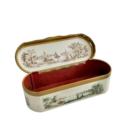 Dutch tin spoon box, river landscape, vintage 20thC