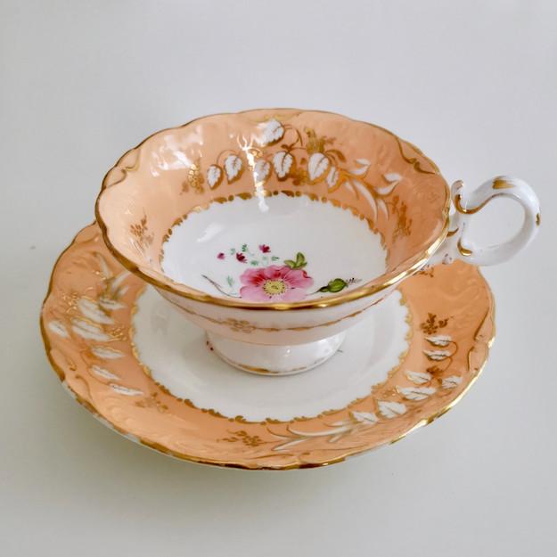 Coalport teacup, Adelaide shape peach with roses, 1839