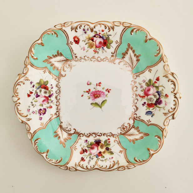 Coalport cake plate painted by Stephen Lawrance, 1832