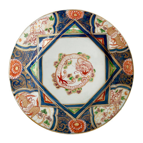 Japanese Imari plate with dragon, lions and cranes, 1680-1700
