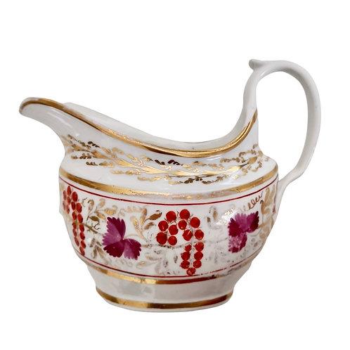 Coalport Thomas Rose milk jug, red and purple vines with gilt, ca 1805