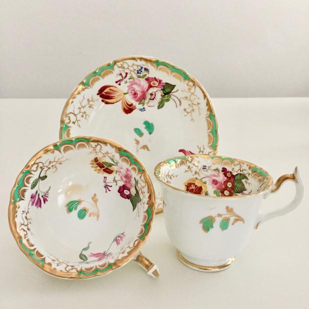 Tea/coffee trio, beautiful hand painted flowers, Rockingham ca 1835