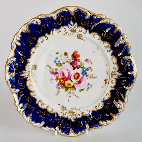 Coalport tureen stand or small plate, painted by Jabey Aston, 1833