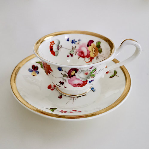 Samuel Alcock coffee cup and saucer, Swansea style, ca 1820