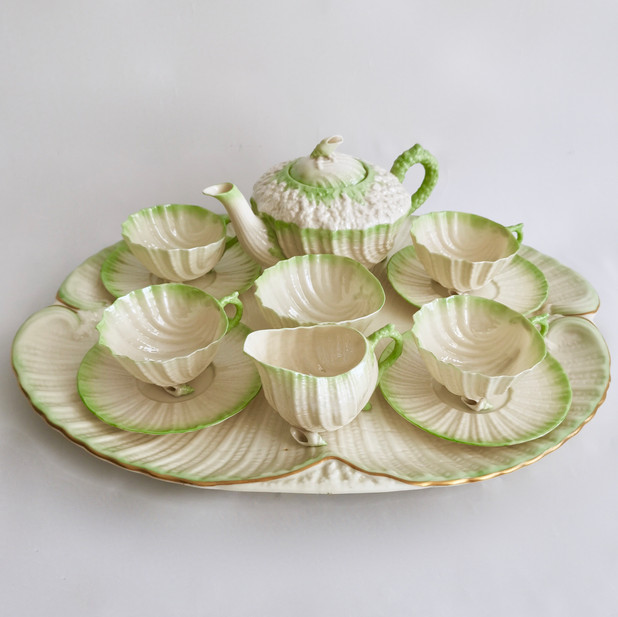 Belleek cabaret set, green Neptune 2BM 2891-1926