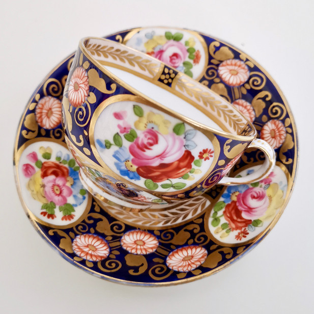 Crown Staffordshire teacup, Swansea imitation 1906-1930