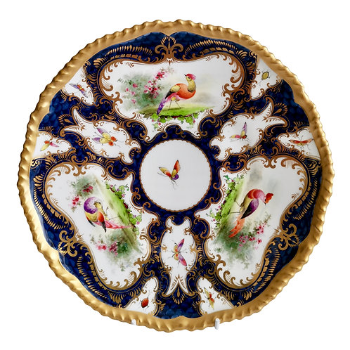 Grainger Worcester plate, blue scale, Sevres birds and insects, 1899 (2)