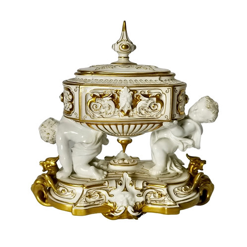 Royal Stamp Box, white and gilt with cherubs, Royal Worcester 1902