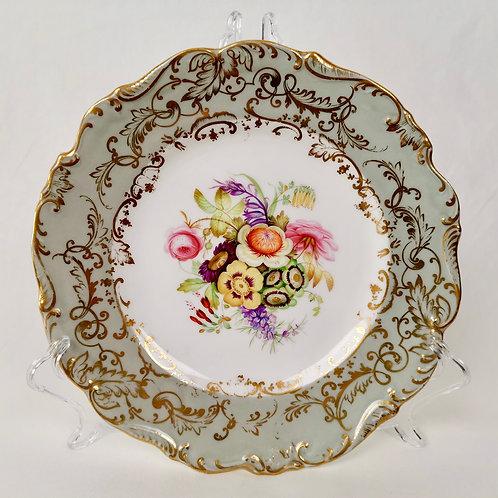 Coalport dessert plate, grey with handpainted flowers 4/195, ca 1840
