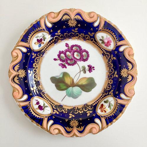 Dessert plate, moustache shape with flower study, Ridgway ca 1825