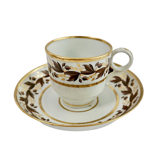 Coffee cup, Flight & Barr, brown gilt sprigs, 1792-1804 (2)