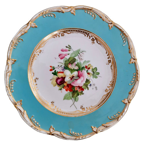 Coalport plate, sky blue with flowers by Thomas Dixon, 1845-1850 (2)