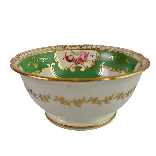 Coalport slop bowl, green with flowers, Regency ca 1826