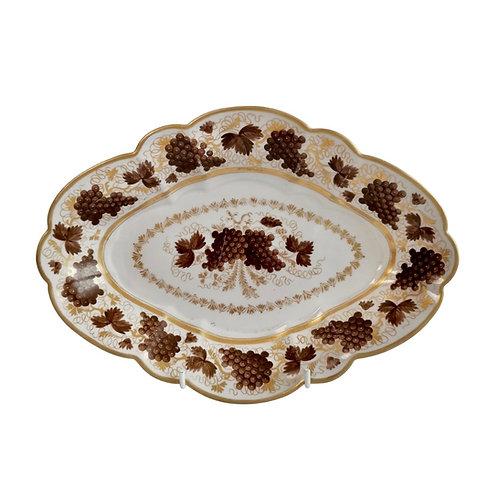 Barr Flight & Barr lobed lozenge dish, brown vines pattern, 1804-1813
