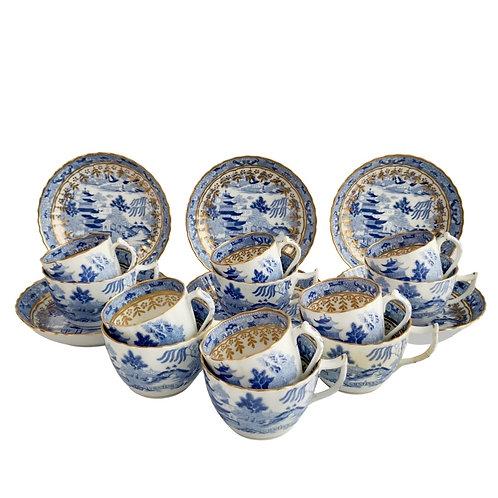 Set of 6 Miles Mason true trios, Pagoda pattern blue and white, ca 1810