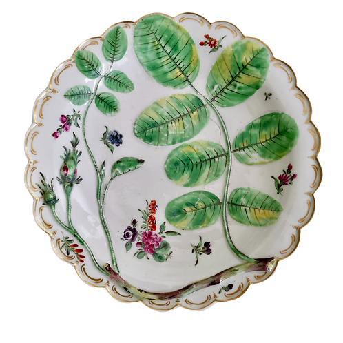 Worcester plate, Blind Earl pattern, ca 1765 A/F