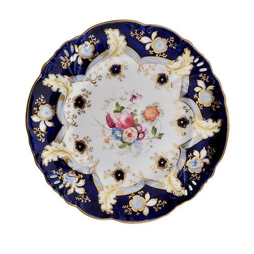 Samuel Alcock plate, cobalt blue, flowers, horn of plenty moulding, ca 1845