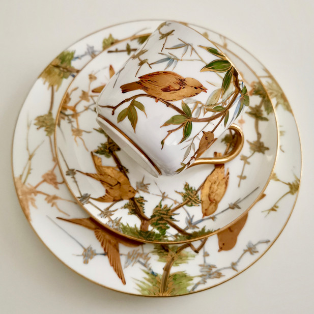 Bodley teacup trio with tooled gilt birds