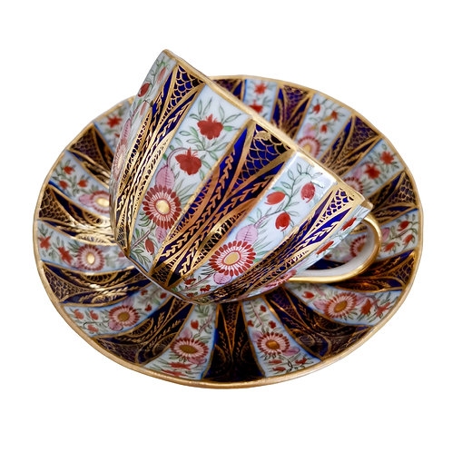John Rose Coalport teacup, Polychrome 18-faceted, ca 1800