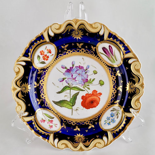 Ridgway dessert plate, moustache shape with sublime flowers, ca 1825 (1)