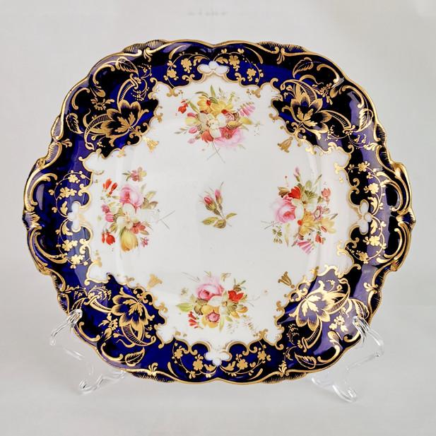 Coalport Adelaide shape cake plate, cobalt blue 1839