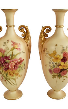 Royal Worcester pair of vases, blush ivory with flowers, 1907