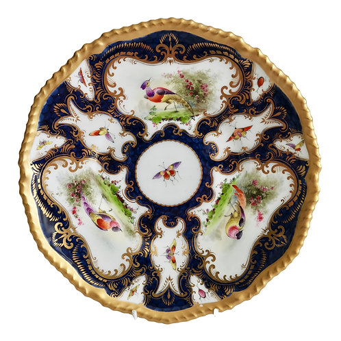 Grainger Worcester plate, blue scale, Sevres birds and insects, 1899 (1)