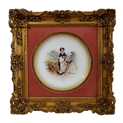 Minton plate in Italianate gilt frame, lady and dog on moor, A.Boullemier 1882