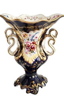 Samuel Alcock Rococo Revival vase, cobalt blue, swan handles, ca 1840