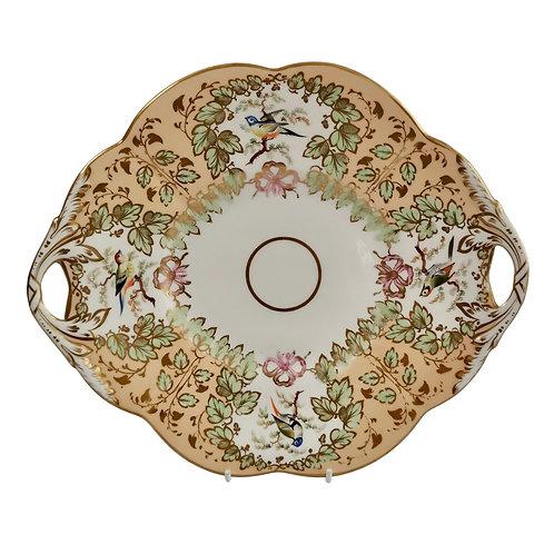 Samuel Alcock cake plate, peach ground with fine birds, ca 1845