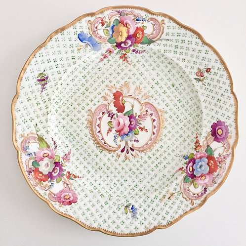 Dinner plate, moulded surface and flowers, Coalport 1815-1825