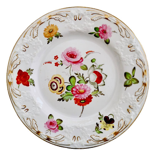 Coalport blind moulded plate, Swansea style flowers, ca 1815
