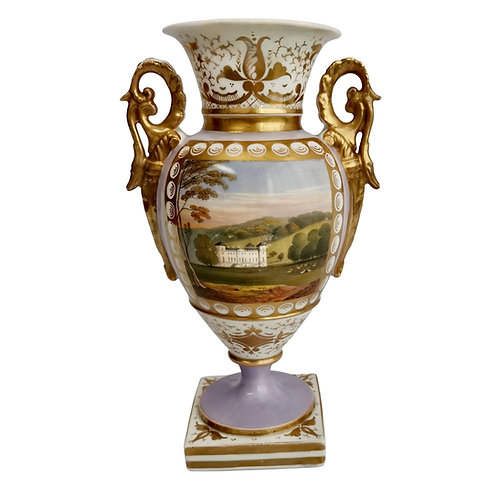 Grainger Worcester pedestal vase, lilac with Hagley view, ca 1820