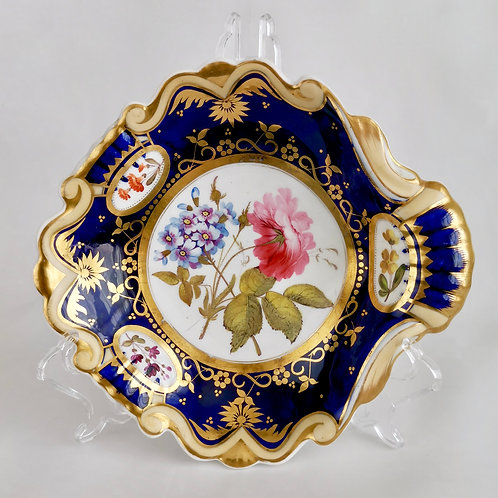 Ridgway serving dish, moustache shape with sublime flowers, ca 1825 (3)