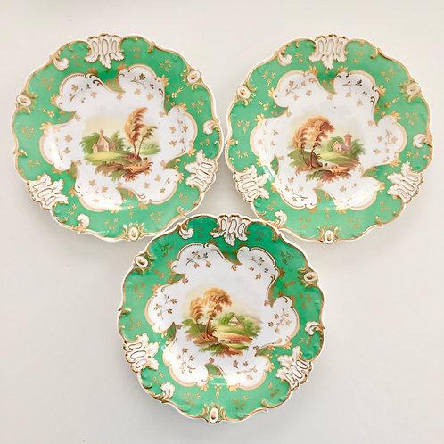 Set of 3 antique plates, landscapes, Rococo Revival ca 1845