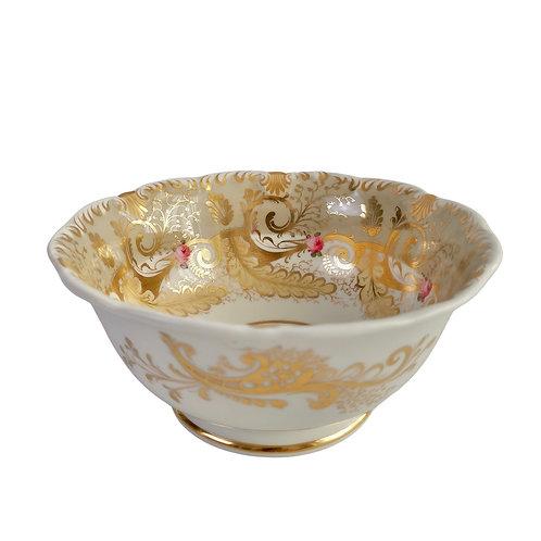 Davenport slop bowl, grey, gilt and roses, ca 1835