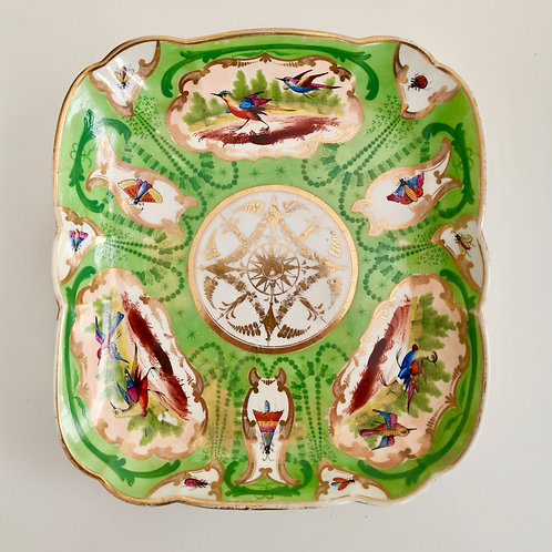 Coalport square dish, hand painted birds, ca 1815