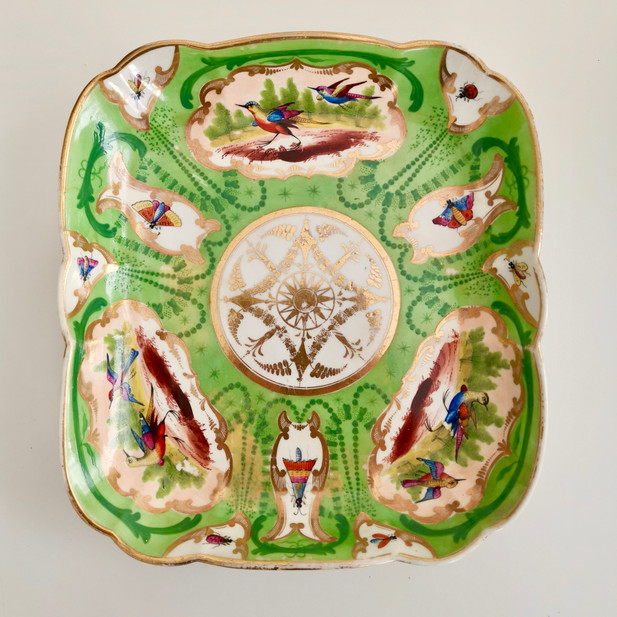 Coalport green dish with birds and insects